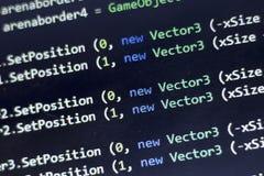 Разработка программного обеспечения C-острый c, СЕТЧАТЫЙ конец кода вверх Макрос снятый экрана разработчика игры Стоковая Фотография