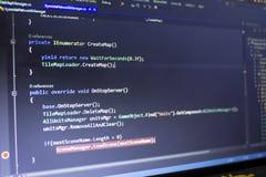 Разработка программного обеспечения C-острый c, СЕТЧАТЫЙ конец кода вверх Макрос снятый экрана разработчика игры Стоковое Изображение