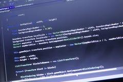 Разработка программного обеспечения C-острый c, СЕТЧАТЫЙ конец кода вверх Макрос снятый экрана разработчика игры Стоковые Фотографии RF