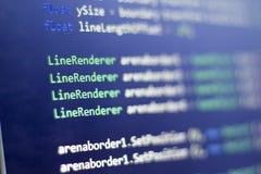 Разработка программного обеспечения C-острый c, СЕТЧАТЫЙ конец кода вверх Макрос снятый экрана разработчика игры Стоковые Фото