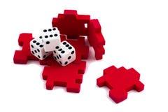 разрешение головоломки кубика принципиальной схемы раскрытое везением Стоковые Изображения