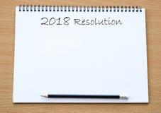 разрешение 2018 на предпосылке тетради чистого листа бумаги, с sp экземпляра Стоковые Изображения