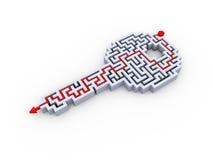 разрешенный 3d ключевой лабиринт головоломки лабиринта формы Стоковая Фотография RF