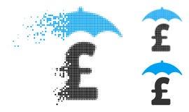 Разрушанный фунт полутонового изображения пиксела финансирует значок крыши иллюстрация штока