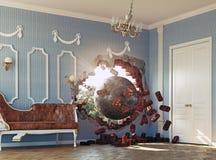 Разрушать шарик в комнате Стоковое Изображение