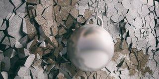 Разрушающ шарик ударяя и ломая серебряную стену иллюстрация 3d иллюстрация штока