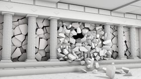Разрушение залы с столбцами Стоковые Изображения RF
