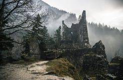 Разрушенная каменная структура в туманных древесинах с мостом стоковые изображения