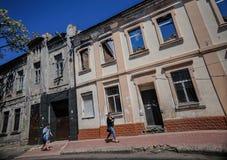 Разрушенная квартира в Донецке Стоковые Изображения