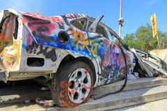 Разрушенная полицейская машина Стоковое Фото