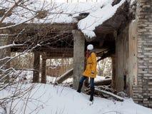 Разрушенное здание после войны в Donbass в Украине стоковое фото