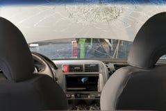 разрушенное лобовое стекло Стоковая Фотография