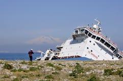 разрушенный нефтяной танкер под vulcan Стоковая Фотография