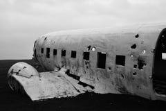 Разрушенный самолет в Исландии Стоковое Фото