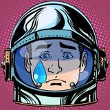 Разрывы Emoji тоскливости смайлика смотрят на астронавта человека ретро Стоковые Изображения