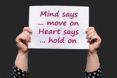 Разум говорит двиньте на сердце говорит Держите дальше Стоковое Изображение RF