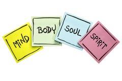 Разум, тело, душа, и дух - липкий комплект примечания Стоковая Фотография RF