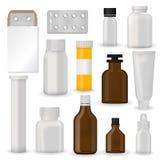 Разлейте волдырь по бутылкам пробела модель-макета шаблона пакета фармацевтический пилюлек и capsules контейнер трубки для пластм Стоковые Изображения