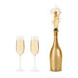 разлейте шампанское по бутылкам Стоковые Изображения