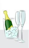 разлейте шампанское по бутылкам иллюстрация вектора