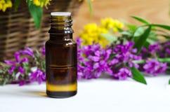 разлейте эфирное масло по бутылкам стоковое фото rf