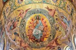 разленный спаситель церков крови Красивое platfond мозаики с библейским рассказом Стоковое Фото
