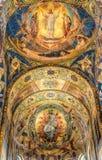 разленный спаситель церков крови Красивое platfond мозаики с библейским рассказом Стоковое фото RF