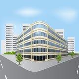 Разделенное офисное здание на улице города с деревьями бесплатная иллюстрация