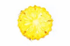 Разделенные свежие фрукты ананаса на белой предпосылке Стоковые Фотографии RF