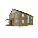 Разделенный дом блоков, с крылечком в перспективе иллюстрация вектора