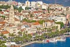 Разделенный портовый район Riva и дворец Diocletian взгляд Стоковая Фотография