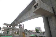 Разделите взгляд дороги под реконструкцией в Бангкоке, Thail Стоковая Фотография RF