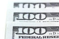 Раздел макроса 3 100 долларов на белой предпосылке Стоковые Фотографии RF