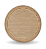 Разделочная доска круга, поднос пиццы древесины дуба темного Брайна Стоковое Изображение