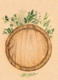 Разделочная доска круглой древесины и свежие травы на бумаге kraft Иллюстрация акварели покрашенная вручную Стоковые Изображения RF
