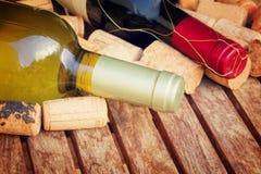 разливает красное белое вино по бутылкам Стоковые Изображения