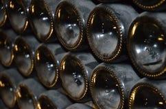 разливает шампанское по бутылкам стоковые изображения