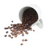 Разлитые кофейные зерна от изолированной чашки Стоковые Изображения RF