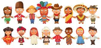 Различная культура стоя совместно держащ руки иллюстрация штока