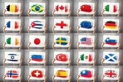 Различное собрание национальных флагов Стоковая Фотография RF