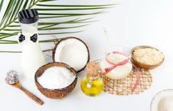 Различное собрание продуктов кокоса на белизне Стоковое Фото
