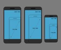 Различное современное сравнение разрешений smartphone Стоковое Фото