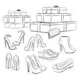 Различные ботинки и коробки моды Стоковое Изображение