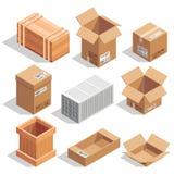 Различные большие пакеты поставки Склад или грузить закрытые и раскрытые коробки Равновеликие иллюстрации вектора иллюстрация штока
