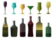 Различные бутылки и стекла Стоковое Изображение RF