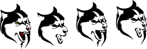 Различные варианты головной собаки разводят сибирскую лайку бесплатная иллюстрация