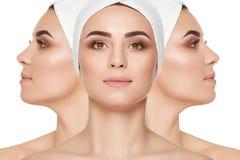 Различные взгляды женщины с позабоченной кожей стороны и шеи стоковые фотографии rf