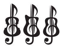 Различные виды гитары, скрипки, дискантового ключа Комплект Vektor картин для дизайна логотипа Стоковые Фотографии RF