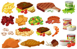 Различные виды здоровой еды иллюстрация вектора