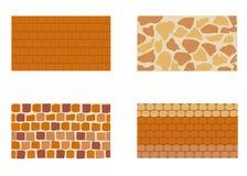 Различные виды каменной кирпичной стены Иллюстрация штока